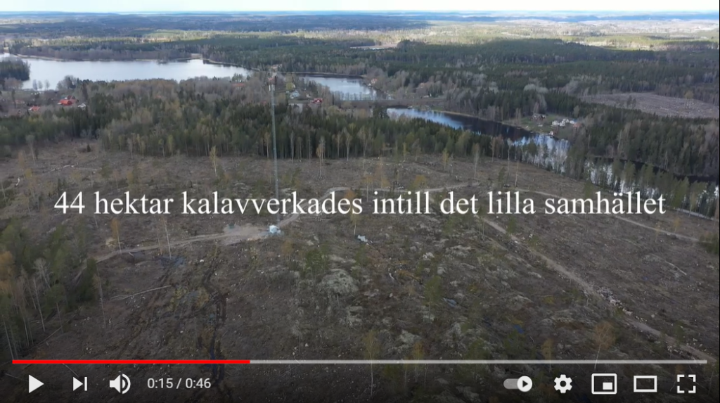 44 hektar stort kalhygge intill det lilla samhället Bälgviken