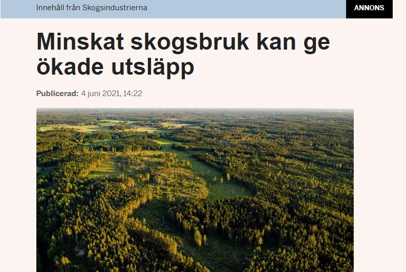Annons från Skogsindustrierna som förvillar och ser ut som en vanlig artikel  i Dagens Industri.